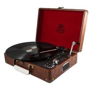 GPO Attache Vintage Brown Portable Briefcase Record Player Vinyl Turntable USB