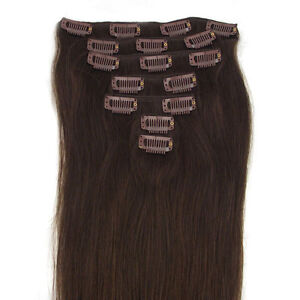 Clip in on Remy Real Human Hair Extensions All Color 15inch-28inch US STOCK FAST