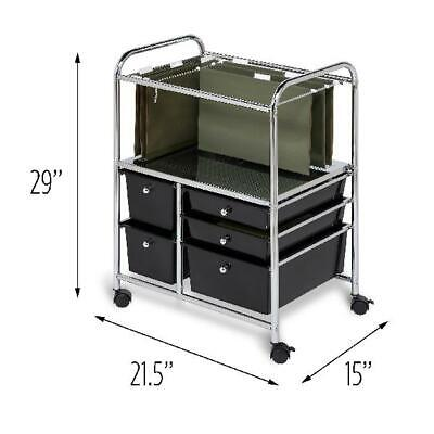 Honey Can Do 5-Drawer Hanging File Rolling Cart, Chrome/Black Chrome Roll File