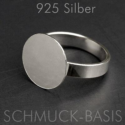 925 Silber Ringrohling variable Größe; mit Ronde (14 mm) !