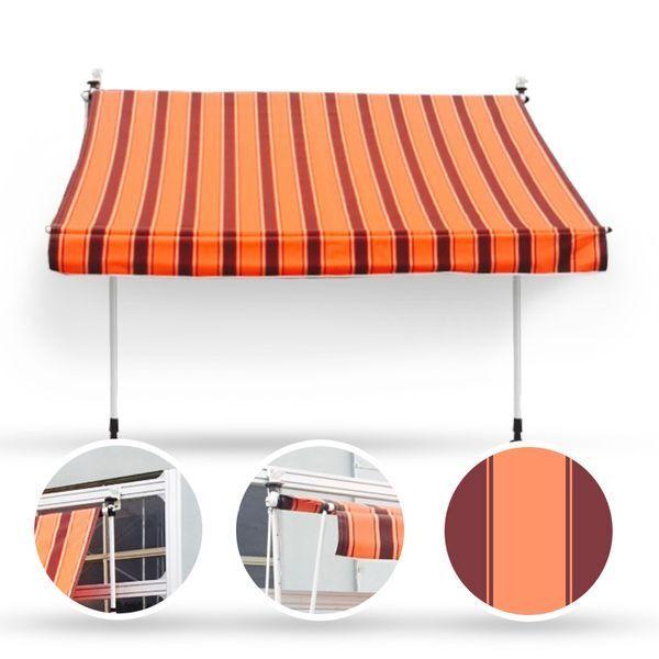250 x 120 Klemmmarkise Fallarmmarkise Markise orange Handkurbel Balkonmarkise