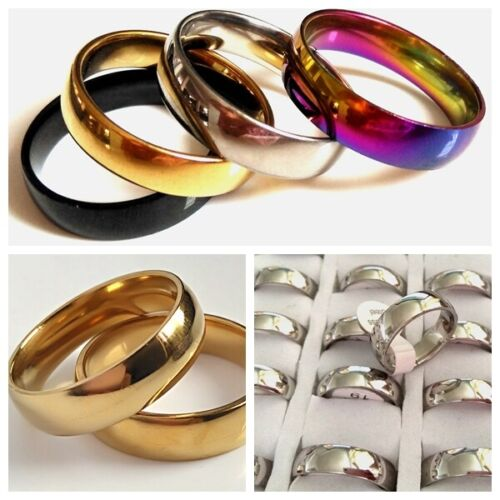 100pcs Top mix BLACK SILVER GOLD RAINBOW 6mm Band Stainless Steel Wedding Rings
