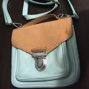 Roots natural leather tan and mint green Crossbody purse  Kitchener / Waterloo Kitchener Area image 1