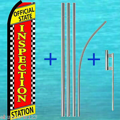 Official State Inspection Station Flutter Feather Flag Pole Kit Swooper Banner
