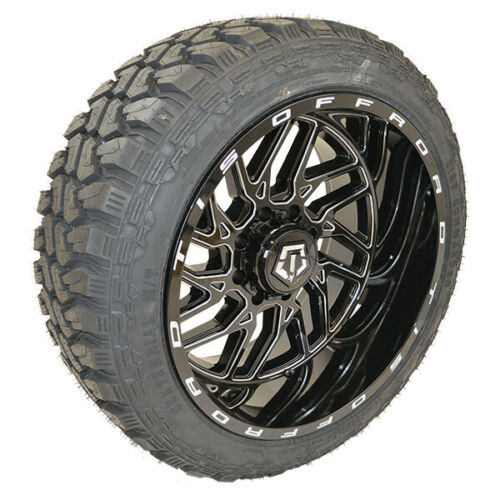 "22"" 22x12 Tis 544bm Wheels 35x12.50r22 Dirt Commander Mt Tires 35-12.50-22"