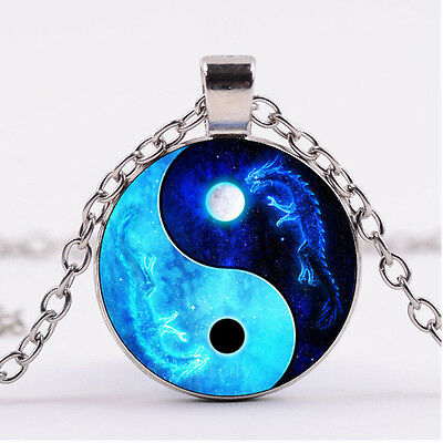 New Cabochon Silver Bronze Black Glass Necklace pendant(Dragon moon yin yang