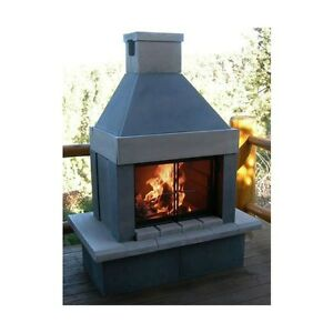 Mirage Stone Outdoor Wood Burning Fireplace w BBQ