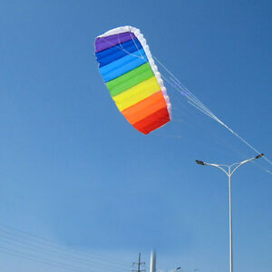 1-4m-Rainbow-Dual-Line-Stunt-Parachute-Parafoil-Sport-Kite-LD369