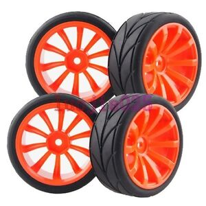 RC-1-10-On-Road-Car-Filt-Foam-Rubber-Tyres-Tires-6mm-offset-Wheel-Rims-604-6081