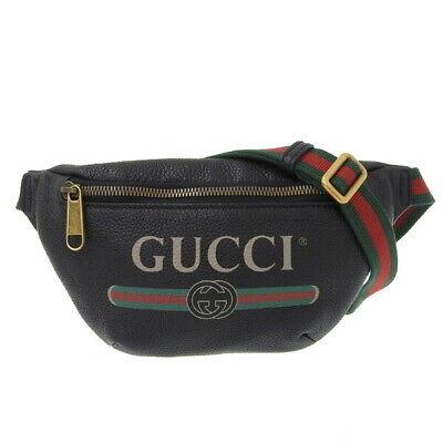 Auth GUCCI Gucci leather vintage logo waist bag body black 527792
