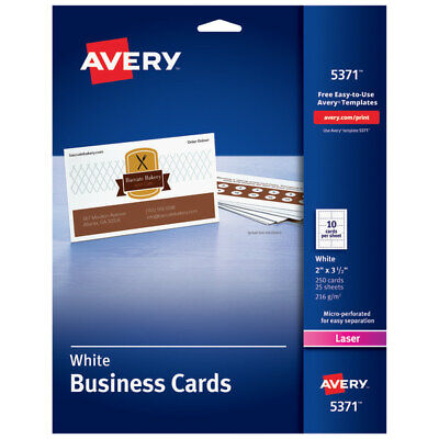 Avery Laser Microperforated Business Cards 2 X 3 12 White Pack Of 250