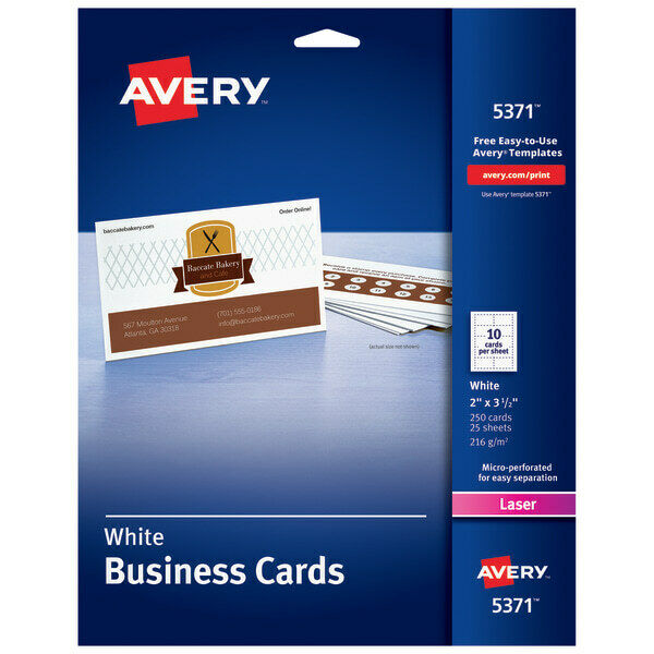 "Avery Laser Microperforated Business Cards, 2"" x 3 1/2"", White, Pack Of 250"