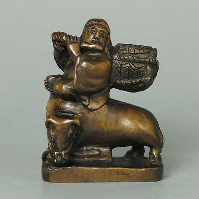 Japanese 1940's Netsuke Boxwood Wood Oldman Riding on Ox Figurine Carving WN499