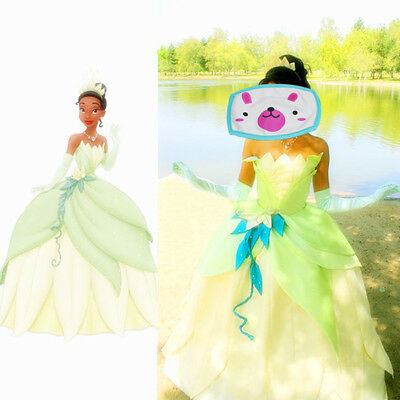 Princess Tiana Dress Cosplay Costume Adult The Princess And The Frog Cosplay//gj](Adult Princess Tiana Costume)