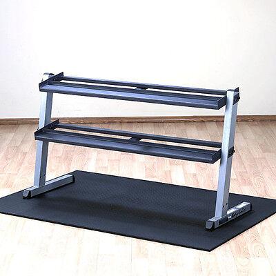 Body-Solid 2 Tier Horizontal Dumbbell Rack GDR60 - Heavy Duty Commercial Storage Horizontal Storage Racks