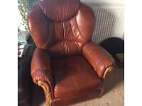 Leather armchair and foot stool