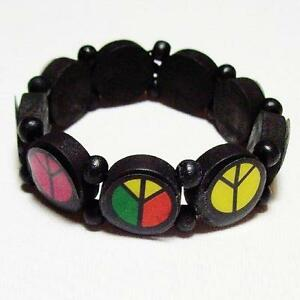 Elastic and Wood Bracelet with Multicoloured Peace Symbols