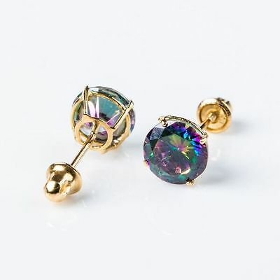 14K Real Yellow Gold Basket Set 3mm Round Mystic CZ Screw Back Stud Earrings