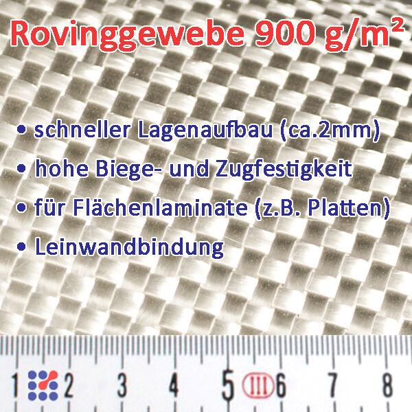 GLASFASERGEWEBE GLASGEWEBE ROVING FILAMENTGEWEBE F. POLYESTERHARZ EPOXIDHARZ GFK Glasgewebe 900 g/m²