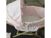 Broderie Anglaise Moses Basket and Lollipop Lane Stand