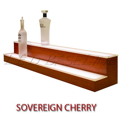 20 2 Tier Led Lighted Liquor Display Shelf - Cherry Finish