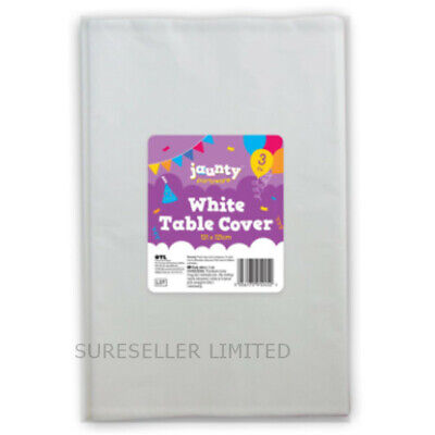 Pack of 3 White Paper Table Cloths 121CM Large Disposable Party Banquet -