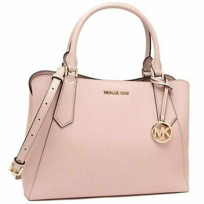 MICHAEL KORS KIMBERLY LARGE SATCHEL SHOULDER PEBBLED LEATHER BAG PINK BLOSSOM