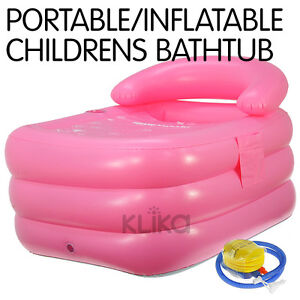 new children pink inflatable bath tub portable baby with pump blow up blowup. Black Bedroom Furniture Sets. Home Design Ideas
