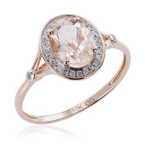 10K Rose Gold 1.21ct TW Morganite and Diamond Split Shank Ri