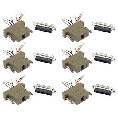 6x 25-Pin DB25 Male to RJ45 8P8C Network 28AWG Modular Converter Adapter (Rj 45 Db25 Male)