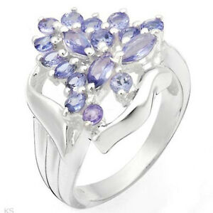 Stylish Ring With 1.35ctw Genuine Tanzanites