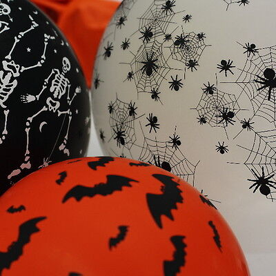 12 HALLOWEEN SPOOKY DESIGN BALLOONS SKELETONS BATS SPIDERS PARTY DECORATIONS