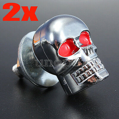 2x Universal Motorcycle Metal Chrome Skull License Number Plate Frame Screw Bolt
