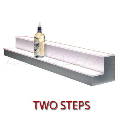 96 2 Tier Led Lighted Liquor Display Shelf - Stainless Steel Finish