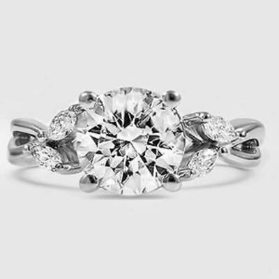 1.40Ct Round Cut & Marquise Diamond Twist Shank Engagement Ring G,VS2 3X GIA 14K