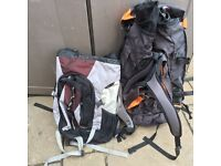 Two rucksacks ideal for scouts, camping, hiking etc