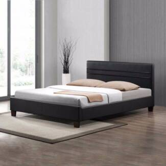 #18 Denny Brand New Matt PU Bed Frame Double/Queen Black/White Melbourne CBD Melbourne City Preview