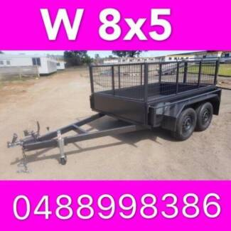 8x5 TANDEM TRAILER WITH CAGE EXTRA HEAVY DUTY FULL CHECKER PLATE