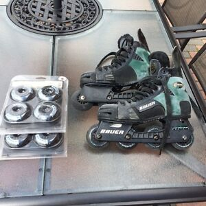 Mens bauer roller blades hockey skates with new wheels size 7