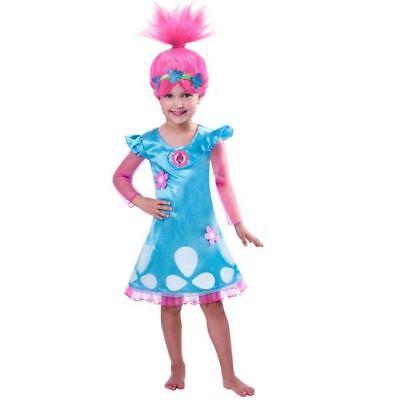 OFFICIAL UK Child Trolls Poppy Fancy Dress Costume Wig Kids Girls Outfit 7-8