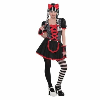 Teen Broken Doll Costume (Teens Gothic Broken Rag Doll Costume Scary Halloween Fancy Dress Outfit)