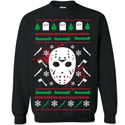 tmas Sweater Crew Sweatshirt camp scary movie friday scary (Jason Scary Movie)