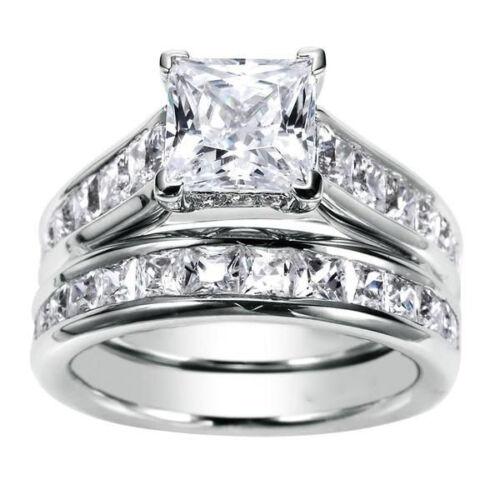 2.50 Carat GIA Certified 18k White Gold Princess Cut Diamond Bridal Ring Set
