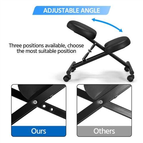 Adjustable Ergonomic Kneeling Chair Posture Chair Stool for Home Office Black 3