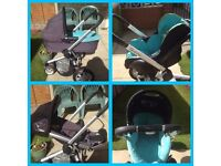 Quinny Pushchair , Pram , maxi-cosy car seat, Isofix base travel system