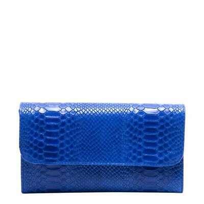 Isabella Rhea Italian leather bright blue reptile CLUTCH BAG +chain strap bnwt
