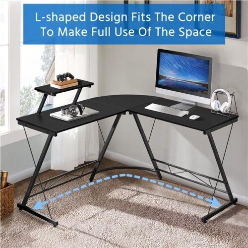 "51.2"" L-Shaped Corner Desk Computer Gaming Desk Writing Ta"