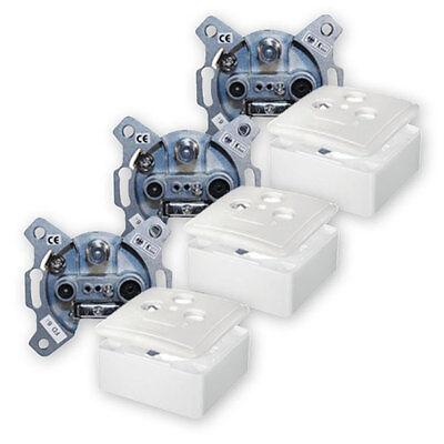 3 x SAT Dose Antennendose 3-fach Transmedia Aufputz und Unterputz 3-Loch Enddose