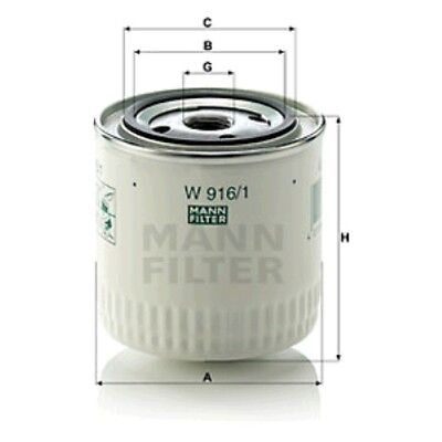 Mann W916/1 Oil Filter Spin On 95mm Height 93mm Outer Diameter Service