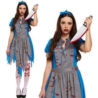 Erwachsene Damen Evil Alice im Wunderland Zombie Halloween Kleid Party Kostüm